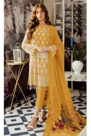Delightful Mustard Embroidered Georgette Salwar Suit With Nazmin Dupatta