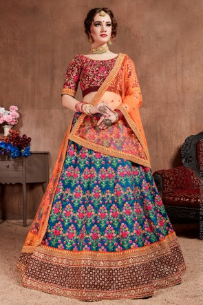 Thread Work And Sequence Embroidered Blue Silk Fabric Lehenga Choli With Net Dupatta