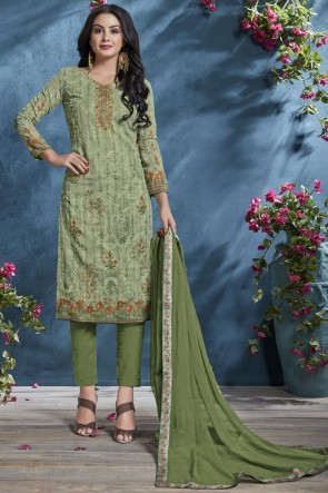 Supreme Cotton Mehendi Green Printed And Sequence Embroidered Salwar Suit With Chiffon Dupatta