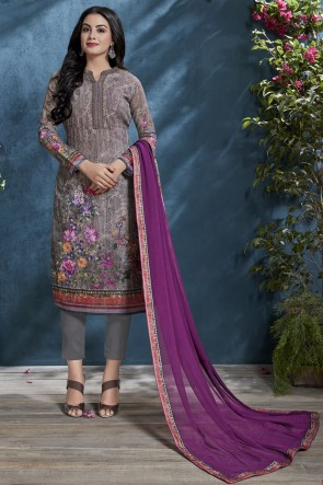 Elegant Cotton Fabric Grey Sequence Embroidery And Printed Salwar Suit With Chiffon Dupatta