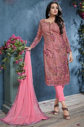 Stunning Pink Cotton Fabric Printed And Sequence Embroidered Salwar Suit With Chiffon Dupatta