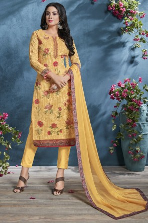 Cotton Yellow Printed And Sequence Embroidered Salwar Suit With Chiffon Dupatta