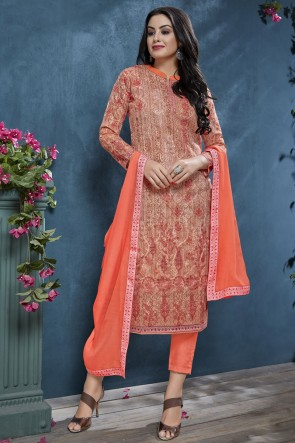 Orange Sequence Embroidery And Printed Cotton Salwar Suit With Chiffon Dupatta