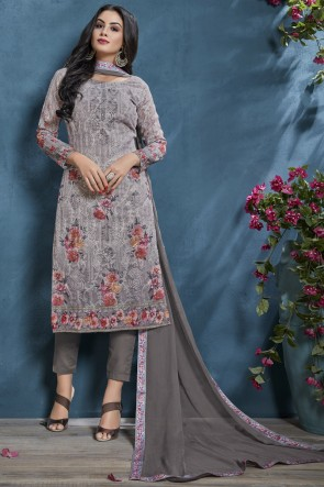 Printed And Sequence Embroidered Cotton Fabric Grey Salwar Suit And Viscose Bottom