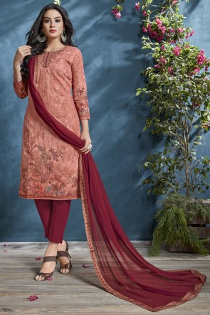 Sequence Embroidery And Printed Peach Cotton Fabric Salwar Suit With Chiffon Dupatta