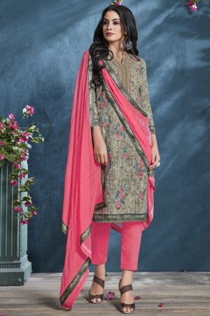 Mehendi Green Sequence Embroidery And Printed Cotton Fabric Salwar Suit With Chiffon Dupatta