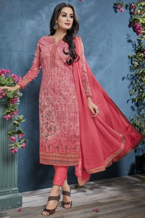 Lovely Pink Printed And Sequence Embroidered Cotton Fabric Salwar Suit And Viscose Bottom