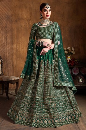 Green Sequins Work And Zari Work Art Silk Fabric Designer Lehenga With Embroidery Work Blouse