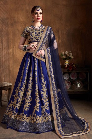 Royal Blue Sequins Work And Zari Work Art Silk Fabric Lehenga Embroidered Blouse