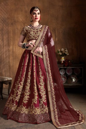 Marvelous Art Silk Maroon Sequins Work And Zari Work Designer Lehenga Choli With Net Dupatta