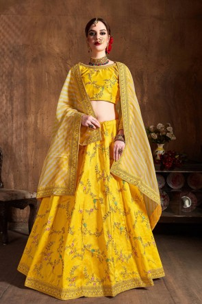Gorgeous Yellow Sequins Work And Zari Work Art Silk Lehenga Choli With Net Dupatta