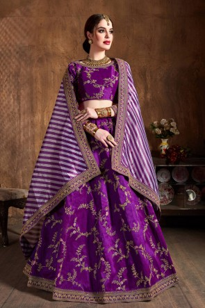 Graceful Sequins Work And Zari Work Art Silk Violet Lehenga Choli With Net Dupatta