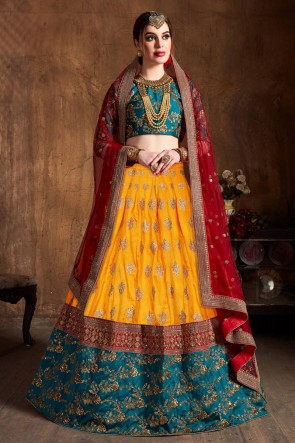 Supreme Yellow Art Silk Sequins Work And Zari Work Lehenga Choli And Dupatta