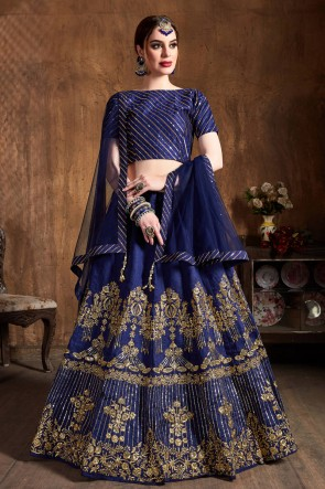 Gorgeous Navy Blue Art Silk Zari Work And Sequins Work Lehenga Choli With Net Dupatta