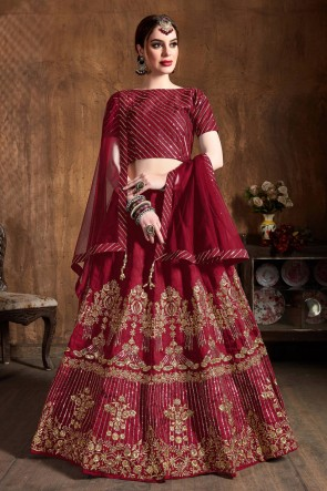 Graceful Art Silk Sequins Work And Zari Work Maroon Lehenga Choli With Net Dupatta