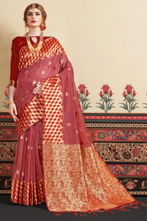 Linen Art Silk Fabric Red Thread Work Designer Stylish Saree And Blouse