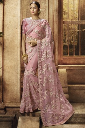Net Fabric Light Pink Border Work And Embroidered Designer Saree With Silk Blouse