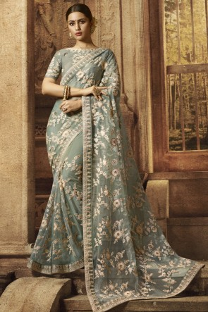 Embroidery And Border Work Net Fabric Grey Saree With Silk Blouse