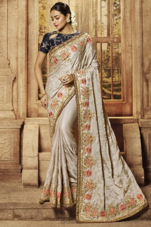 Embroidery And Border Work Designer Silver Satin Fabric Saree With Silk Blouse