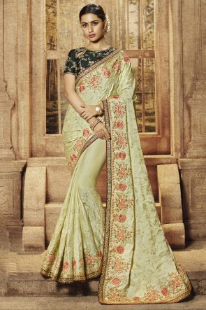 Pista Satin Fabric Border And Embroidery Work Saree With Silk Blouse