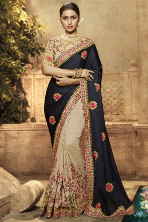 Satin Ora Silk Fabric Border Work And Embroidered Black And Cream Saree With Silk Blouse