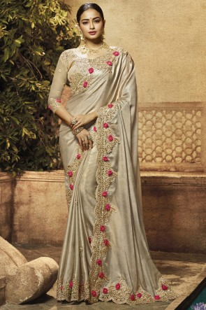 Border And Embroidery Work Sliver Satin Fabric Saree With Brocade Blouse