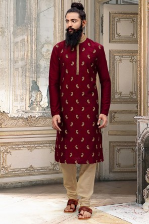 Maroon Silk Fabric Designer Thread Work Kurta Pajama
