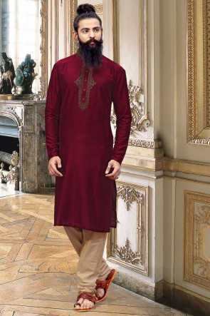 Stunning Maroon Thread Work Silk Fabric Kurta Pajama