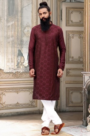 Excellent Dhupion Silk Fabric Maroon Thread Work Kurta Pajama