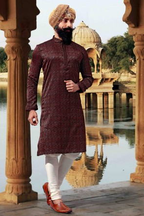 Maroon Jacquard Fabric Thread Work Classic Mens Kurta Pajama