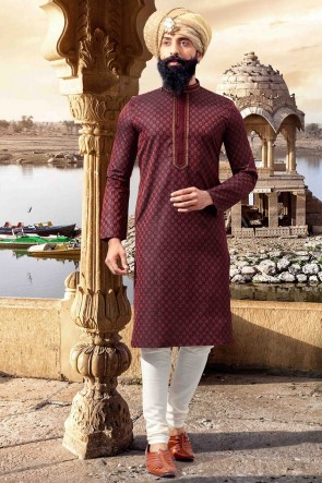 Admirable Thread Work Maroon Jacquard Fabric Mens Kurta Pajama