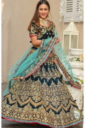 Blue Stone Work And Zari Work Velvet Fabric Lehenga Choli With Net Dupatta