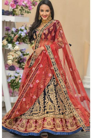 Blue Stone Work And Zari Work Velvet Fabric Designer Lehenga Choli With Net Dupatta