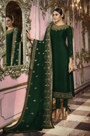 Party Wear Green Faux Georgette Embroidered Salwar Kameez And Dupatta