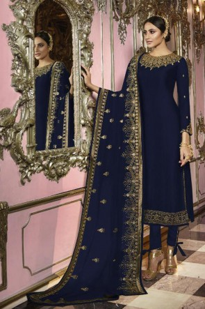 Embroidered Navy Blue Faux Georgette Fabric Salwar Kameez And Lycra Bottom
