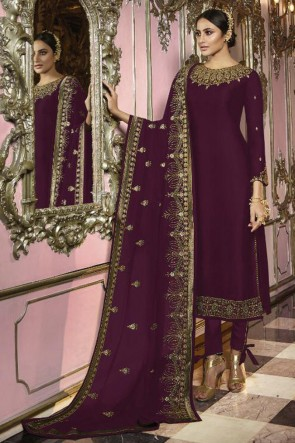 Beautiful Purple Faux Georgette Embroidered Designer Salwar Suit And Dupatta