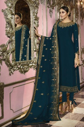Blue Embroidered Faux Georgette Fabric Salwar Suit And Dupatta