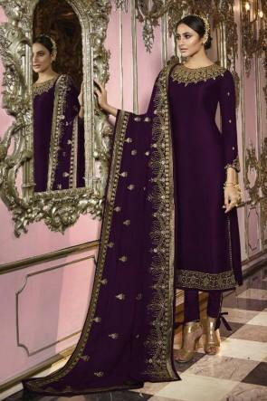 Faux Georgette Violet Embroidered Designer Salwar Suit And Dupatta