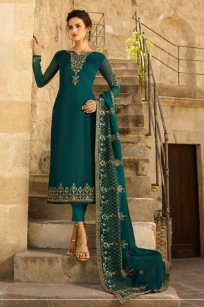 Teal Georgette Satin Embroidered Salwar Suit And Dupatta