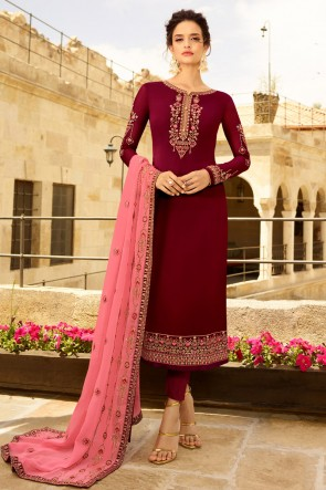Embroidered Maroon Georgette Satin Fabric Salwar Suit And Dupatta