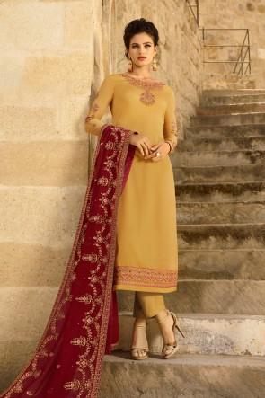 Georgette Satin Designer Yellow Embroidered Salwar Suit And Dupatta