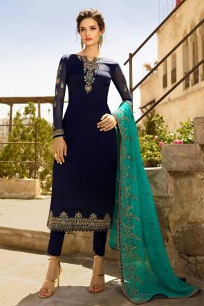 Designer Navy Blue Embroidered Georgette Satin Salwar Suit And Dupatta