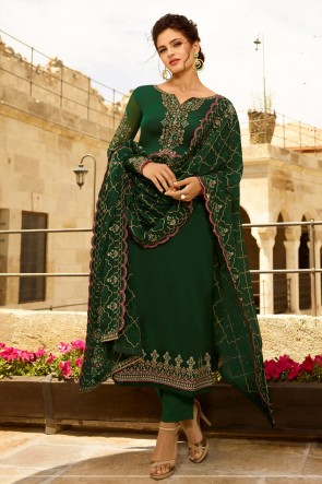 Embroidered Green Georgette Satin Fabric Salwar Suit And Dupatta