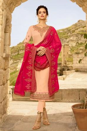 Georgette Satin Designer Peach Embroidered Salwar Suit And Dupatta