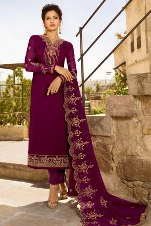 Designer Purple Embroidered Georgette Satin Salwar Suit And Dupatta