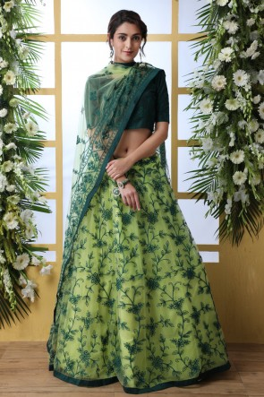 Heavy Designer Green Embroidered And Thread Work Net Lehenga Choli With Net Dupatta