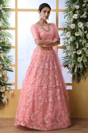 Peach Embroidered And Thread Work Net Fabric Lehenga Choli With Net Dupatta