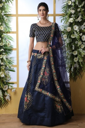 Navy Blue Embroidered And Thread Work Designer Art Silk Fabric Lehenga Choli With Net Dupatta