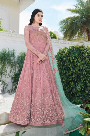 Embroidered Wine Net Fabric Anarkali Suit With BKEcade Dupatta