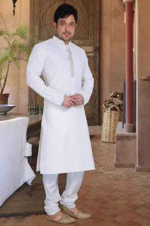 White Cotton Fabric Designer Kurta Payjama